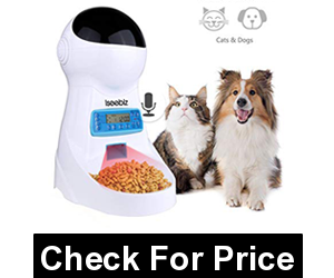 Automatic Pet Feeder, Dogs Cats Food Dispenser with Voice Record Remind, Timer Programmable, Portion Control, Distribution Alarm, IR Detect, 4 Meals a Day
