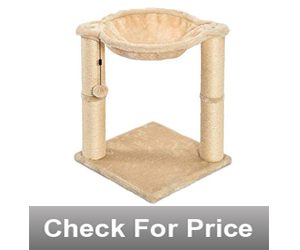 Elevated cat hammock,Color: Beige,Natural jute fiber scratching posts