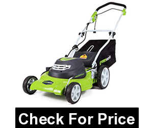 GreenWorks 20-Inch 12 Amp Corded Electric Lawn Mower 25022,7-position height adjustment,10-Inch Rear / 7-Inch Front Wheels