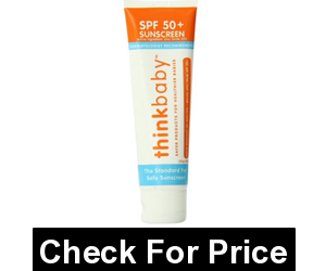 Thinkbaby Safe Sunscreen SPF 50+ (3 ounce), Highest level of water resistance