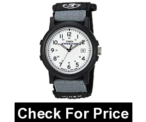 Timex Mens Camper Watch,Color: Black/White,38 mm resin case with INDIGLO light-up dial and acrylic window