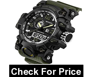 Military Sports Electronic LED Stopwatch Digital Analog Dual Time Outdoor Army Wristwatch,Band Color: Green,Price: $19.99