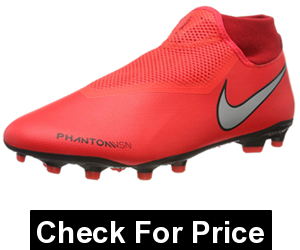 Nike Men's Phantom VSN Academy DF MG,Color: Bright Crimson/Metallic Silver,Multi-Ground Soccer cleats