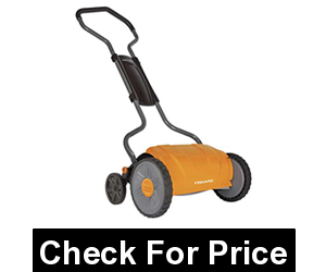Fiskars 17 Inch Staysharp Push Reel Lawn Mower, Price: $158.04, Lifetime warranty