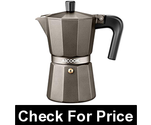 AICOOK 6 Cups Moka Pot, Price: $14.59, flame retardant handle, Light and Durable Aluminium Moka Pot