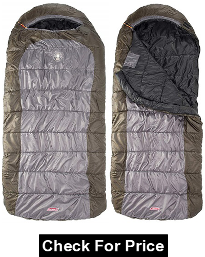 Coleman Big Basin 15 Big and Tall Adult Sleeping Bag, Adjustable hood, Thermolock draft tube
