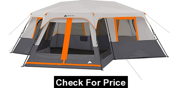 Ozark Trail 12-Person 3-Room Instant Cabin Tent with Screen Room, Measures: 20' x 18' Construction: polyester and steel Center height: 76""