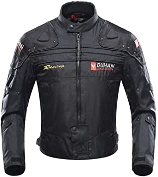 Motorcycle Jacket Motorbike Riding Jacket Windproof Motorcycle Full Body Protective Gear Armor Autumn Winter Moto Clothing (Black, XXL)