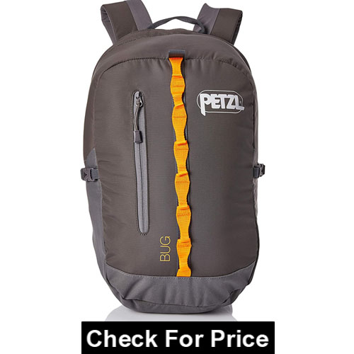 PETZL, Bug Climbing Pack, 18L / 1098 Cubic Inches, Color: Gray, DURABLE AND ROOMY