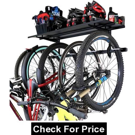 Bike Rack + Storage Shelf, Holds 5 Bicycles, Garage Adjustable Bike Wall Mount