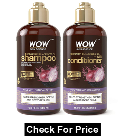 WOW Red Onion Black Seed Oil Shampoo and Conditioner Kit Increase Gloss, Hydration, Shine - Reduce Itchy Scalp,