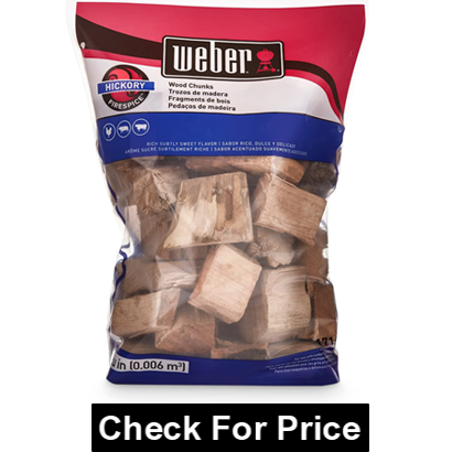 Weber 17148 Hickory Wood Chunks for Brisket Smoke, Rich subtly Sweet flavor, Great for poultry, pork & beef