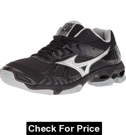 Mizuno Wave Bolt 7 Womens Black-Silver volyball shoes for hitters, 100% Synthetic, Made in the USA, Air Mesh Upper, Intercool