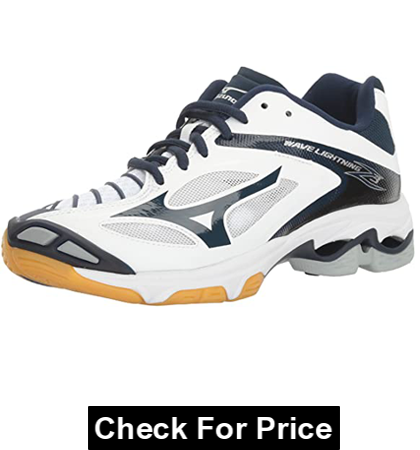 Mizuno Women's Wave Lightning Z3 Volleyball Shoe, Color: White/Navy, Synthetic sole, Non-marking outsole