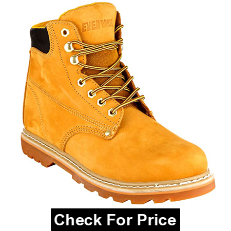 EVER BOOTS Soft Toe Leather Hiking Shoe for Wide Feet, Color: Tan, Soft leather, 100% Leather, Rubber sole
