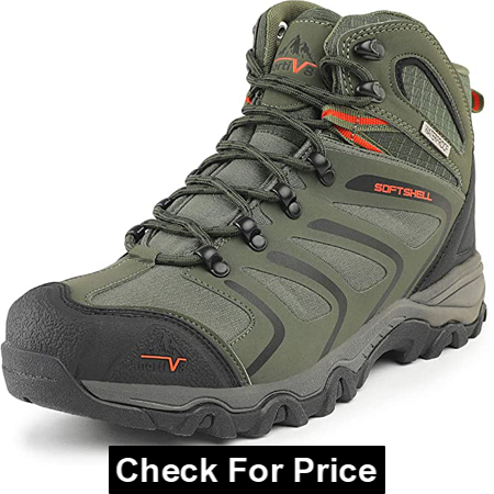 """NORTIV 8 Men's High Ankle Waterproof Hiking Boots for Wide Feet, Color: Army Green, Black and Orange, Rubber sole, 1 inches Heel, 13"""" wide around"""